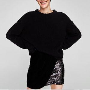 Zara contrasting black velvet sequin mini skirt